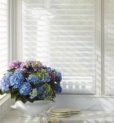 More information about the window treatments from Hunter Douglas that we carry. Hunter Douglas makes a variety of stylish and functional window treatments. Clean Window Blinds, White Blinds, Sliding Door Blinds, Patio Blinds, Diy Blinds, Outdoor Blinds, Shades Blinds, Blinds For Windows, Curtains With Blinds