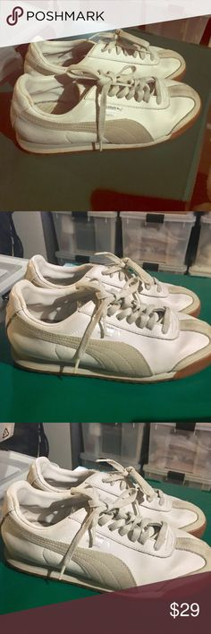 Puma Roma Gently loved, will clean before shipping, great condition, cream with silver logo size 8 1/2, Puma Roma Puma Shoes Sneakers