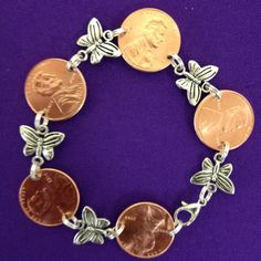 Penny Bracelet with Butterfly Charm Links by AnnPedenJewelry on Etsy