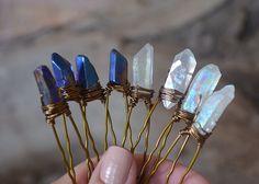 Set of Four (4) Raw Aura Quartz Crystal Hair Pins, Bridal Accessories, Wedding Hair Accessories by GemsAndBones on Etsy https://www.etsy.com/nz/listing/401036289/set-of-four-4-raw-aura-quartz-crystal