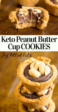 These are a match made in heaven. With a tender cookie crust chocolate ganache filling and the crunch of salty peanuts on top your cravings will be fulfilled. Keto Sugar-Free THM S Keto Cookies, Peanut Butter Cup Cookies, Cookies Et Biscuits, Keto Biscuits, Keto Pancakes, Shortbread Cookies, Low Carb Sweets, Low Carb Desserts, Low Carb Recipes