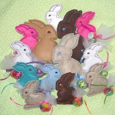 Bunny In the Hoop Treat Softies! The ultimate bunny treat for Easter! These adorable little softies stitch up so quick they multiply like rabbits! Fast , fun ... 2 minuets and done!  With treat filled ITH tails & after the treats are gone, you just retie the Tulle tails and now it's a toy! SAVE 20% with code: NLE20