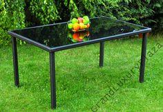 Stół ogrodowy DIEGO z technorattanu szklany blat 1,5 m