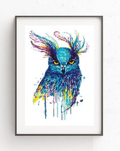 Owl cross stitch pattern Watercolor birds Counted xstitch