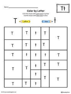 Lowercase Letter T Color-by-Letter Worksheet Worksheet. The Lowercase Letter T Color-by-Letter Worksheet will help your child identify the lowercase letter T and discover colors and shapes. Letter T Worksheets, Letter H Activities, Phonics Worksheets, Preschool Letters, Kindergarten Worksheets, Alphabet Letter Crafts, Alphabet For Kids, Letter Recognition, Lower Case Letters