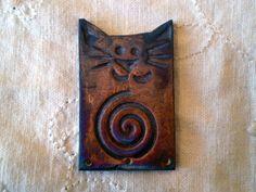 Raku Cat Bead with Spiral Pattern, Handmade Ceramic Jewelry Supply, Focal Beads by spinningstarstudio on Etsy