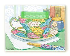 Chintz teacup greeting card. Watercolor art by Kimberly Shaw Graphics