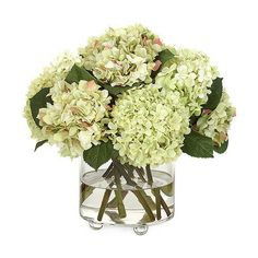 Diane James Green Hydrangea Bouquet ($605) ❤ liked on Polyvore featuring home, home decor, floral decor, flowers, green hydrangea bouquet, fabric flowers, green silk flowers, hydrangea silk flower arrangement and green artificial flowers