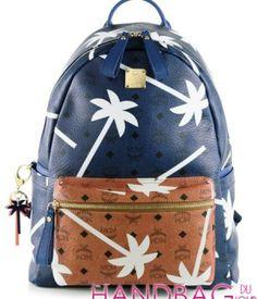 Celebrity Handbag Spotting: Rihanna with MCM Bicolor Palmtree-Printed Coated Canvas Backpack