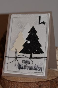 Bastelinna: glitzer Tanne.... Christmas Tree Cards, Stampin Up Christmas, Christmas Greetings, Handmade Christmas, Christmas Crafts, Xmas, Scrapbook Cards, Scrapbooking, Stampin Up Weihnachten