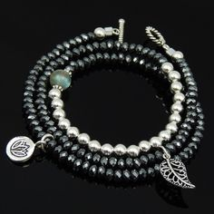 Handmade Necklace/3-Wrap Bracelet S925 Sterling Silver Pyrite Labradorite Beads #DIYKAREN #BraceletNecklace