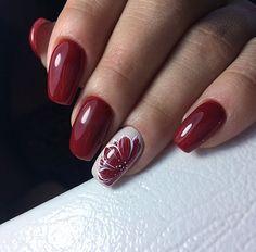 Nail art Christmas - the festive spirit on the nails. Over 70 creative ideas and tutorials - My Nails Nail Designs Spring, Nail Art Designs, Red Nails, Hair And Nails, Cute Nails, Pretty Nails, Acrylic Nails Natural, Jolie Nail Art, Flower Nails