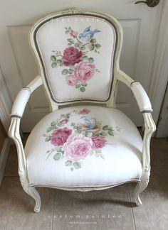 I just finished this ivory linen hand painted chair. So thrilled to be offering custom painting at www.debicoules.com