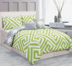 total fab lime green and grey bedding sets from Bright Green Bed SheetsBright Green Bed Sheets - Want to have a bedroom Lime Green Bedding, Lime Green Bedrooms, Green Comforter, Grey Bedding, Comforter Sets, Luxury Bedding, Green Bedroom Decor, Bedroom Ideas, Bedroom Art