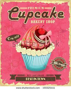 Vintage Candy Shop Logo   Vintage cupcake poster design - stock vector