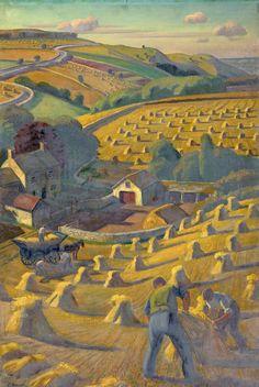 Adrian Allinson, Harvesting, England, ca. 1939–1946.