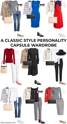 Classic style personality - A style guide and capsule wardrobe How to create a classic wardrobe for the classic style personality. Timeless classics for the over 40 woman to invest in now to add instant style. Capsule Wardrobe Women, Capsule Outfits, Fashion Capsule, Work Wardrobe, Capsule Wardrobe Winter, Simple Wardrobe, Fall Capsule, Work Outfits, Classic Outfits For Women