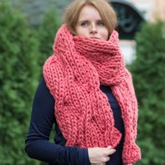 WAVES Scarf | Chunky Knitted Oversized Scarf Coral Woolen Scarves, Chunky Knit Scarves, Hand Knit Scarf, Sweater Scarf, Chunky Wool, Wool Scarf, Oversized Scarf, Blanket Scarf, Super Chunky Yarn