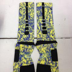 """Nike Elite Socks """"Blue & Yellow Splatter"""" · Sock Insanity · Online Store Powered by Storenvy"""