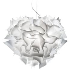 Pendant light made of a stunning series of curled Opalflex white swirls.