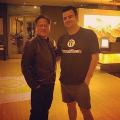 """Just """"casually"""" meeting up with the CEO of @NVIDIA Jen-Hsun Huang. #GTC16 More: http://www.tweaktown.com"""