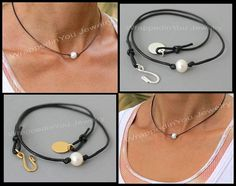 THIS LISTING IS FOR  => 1 choker - Genuine 8-9mm A Grade creamy white semi round freshwater pearl on a 1.5mm genuine leather - Silver or gold plated