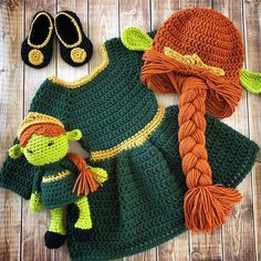 Excited to share this item from my shop: Fiona Shrek Inspired Costume and Matching Doll/Crochet Fiona Wig/ Shrek Inspired Costume/Photo Prop Newborn to 12 Month Size-MADE TO ORDER Crochet Baby Costumes, Crochet Baby Clothes, Newborn Crochet, Fiona Shrek, Crochet Princess, Knit Crochet, Crochet Hats, Chrochet, Wig Hat