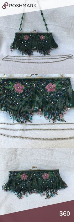 Green beaded evening bag Green beaded evening bag. Pink beaded flowers with beaded green leaves.  Comes with two straps. One as shown with green beads. The other is a silver strap. Design on both sides with fringes unknown Bags Clutches & Wristlets
