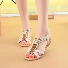 Women's+Shoes+Flat+Heel+Mary+Jane+Sandals+Casual+Black/Beige+–+USD+$+14.99