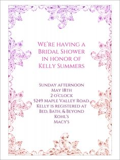 22 Free Bridal Shower Printable Invitations | Visit  Www.freetemplateideas.com