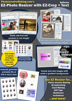 EZ Photo Charm Resizer Program for making jewelry, scrapbooking and crafts.