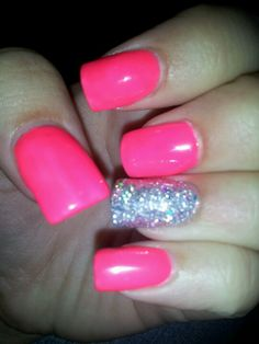 hot pink and bling nails; can't ever get enough of hot pink!