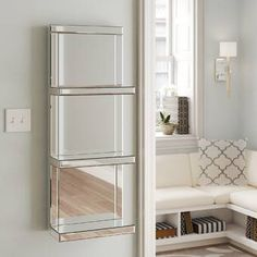 Rosdorf Park This mirrored shelf features 3 shelves and can be hung on the wall. Silver Wall Mirror, Wall Mirrors Set, Mirror With Shelf, Round Wall Mirror, Silver Vanity, Display Shelves, Wall Shelves, Bathroom Shelves, Shelving