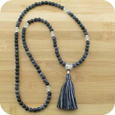 Faceted Black Fire Agate Meditation Mala Beads Necklace with Matte Crystal Quartz