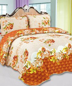 Take a look at this Rust Floral Amanda Reversible Quilt Set today!