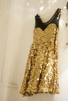 dress, glitter, gold, sequins, mesh, fancy |