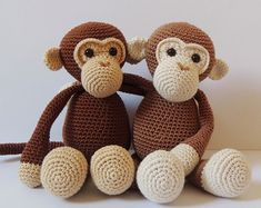Crochet pattern monkeys Michel and Robin Amigurumi by PoppaPoppen                                                                                                                                                                                 Mais