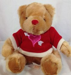 Plush Dan Dee Collectors Choice Bear Heart Sweater 6.5 inches Stuffed Animal #DanDee