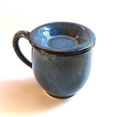 Denim Blue Ceramic Mug With Lid Pottery Cover