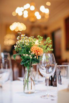 Wedding Milkbottle Flowers www.hayleysavagephotography.co.uk