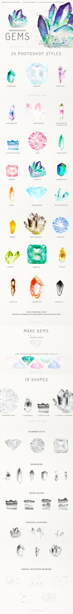 Gem Creator Kit Watercolor Crystal Clusters Clip Art Wedding Invitation Pocket Scrapbooking / Project Life / Journaling / Memory Keeping Watercolour Painting, Painting & Drawing, Watercolor Ideas, Gem Drawing, Watercolor Moon, Watercolor Wedding, Watercolours, Art Tutorials, Pencil Art