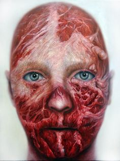 miguel scheroff portrait.Meat face, cara de carne, flesh portrair