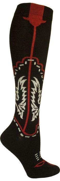 Womens Cowboy Boots Knee High Sock - Black