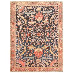Antique Persian Heriz Serapi Carpet | From a unique collection of antique and modern persian rugs at https://www.1stdibs.com/furniture/rugs-carpets/persian-rugs/