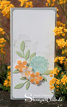 handmade card from Leipzig stempelt - mit Stampin' Up! ® ... tall and thin format ... like the stamped and punche element and the broken grid background stamp;ing in gray ...