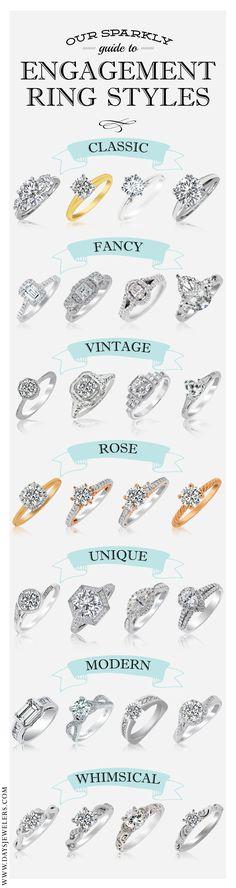 Wedding Rings An amazing engagement ring style guide! Wedding Ring Styles, Engagement Ring Styles, Vintage Engagement Rings, Wedding Engagement, Wedding Jewelry, Wedding Bands, Engagement Ring Guide, Ring Set, Ring Verlobung