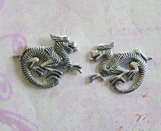 NEW 2 Silver Ox Dragon Findings 3689 by charmparfait on Etsy