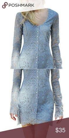 """Super Cute Lace Mini Button Dress Lace mix  SIZE & FIT   Inch size detail  S: ? Shoulder:14.57"""",Sleeve:23.23"""",Length:31.89"""",Bust:37.8""""  M: ?Shoulder:14.96"""",Sleeve:23.62"""",Length:32.28"""",Bust:39.37""""  L: ? Shoulder:15.35"""",Sleeve:24.02"""",Length:32.28"""",Bust:40.94"""" Dresses Mini"""