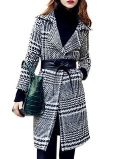 With Belt Houndstooth With Pockets Celebrity Lapel Overcoats