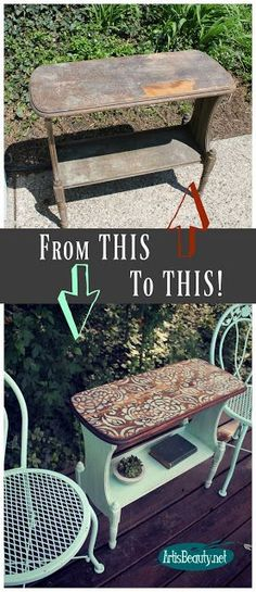 simple stencilled sidetable makeover paisley boho roadside rescue vintage makeover